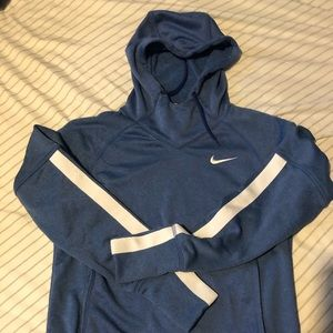 Blue funnel neck Nike Dri-Fit hoodie